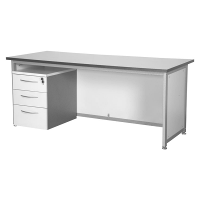 Silver Desk with Lockable Pedestal