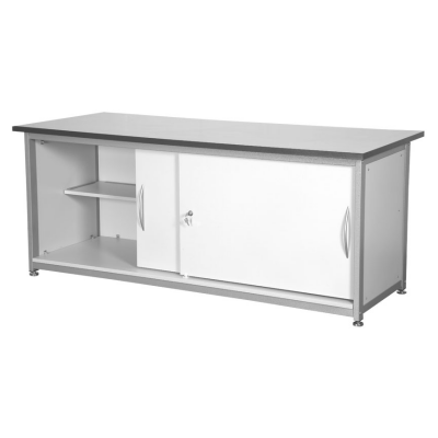Silver Cupboard with Lockable Doors